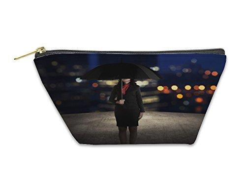 Gear New Accessory Zipper Pouch, Business Woman Holding Umbrella On The Rooftop, Small, 5972926GN by Gear New