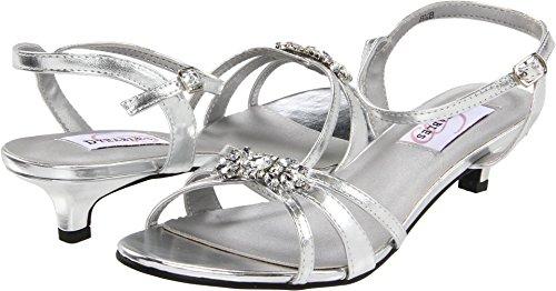 Dyeables Women's Penelope Ankle-Strap Sandal,Silver Metallic,8.5 B (Satin Sandal Rhinestone Ornament)