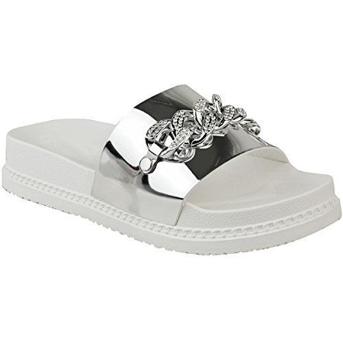 Flat Chain Fashion Size Womens Flatforms Thirsty Sandals Sliders Summer Silver Metallic Diamante Platform qqETnWp