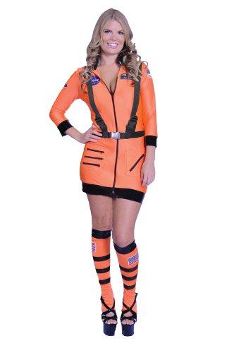 Underwraps Women's Sexy Astronaut Costume-Cosmic, Orange -