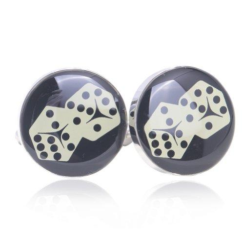Digabi Dice Pattern Round Cufflinks with Gift Box