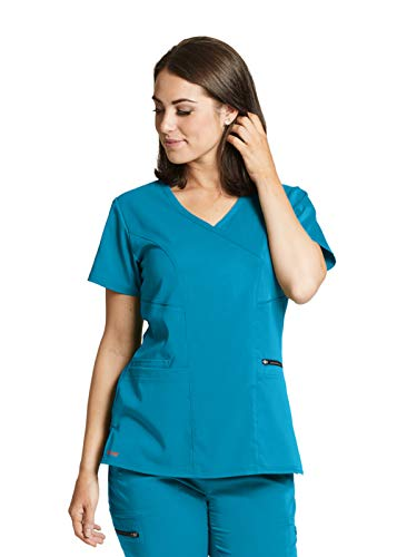 (Grey's Anatomy GRST001 Princess Scrub Top - Spandex Stretch Blue Tonic S)