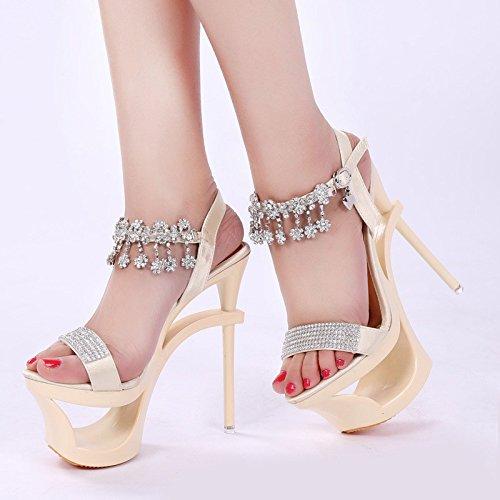 De show albaricoque modelo tienda Car Super damas cm zapatos Show color XiaoGao caminando Heeled High sandalias 15 AwqRxapX6