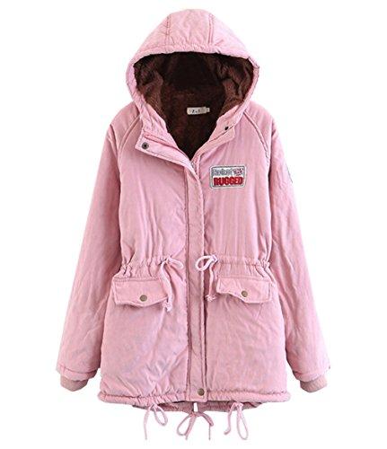 Long Warm Winter Coat Jacket Sleeve Parka Pink Hooded Women Bigood Outwear xUFqPaF