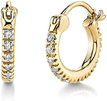 Brandlinger ® Atelier pendientes de aro de plata de ley dorada con piedras de circonio para mujeres y niñas. Tamaño 12,5mm