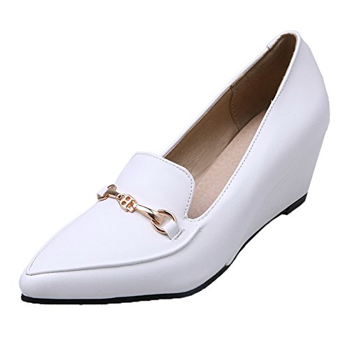 Odomolor Women's Pull-On Closed-Toe Kitten-Heels PU Solid Pumps-Shoes, White, 33