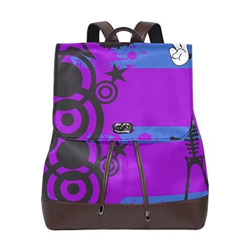 YCHY Custom Made Backpack Skeleton Cartoon Halloween Background Vector Format Lightweight Travel PU leather Bag Oversize Student School Bookbag Daypack Hiking Knapsack -