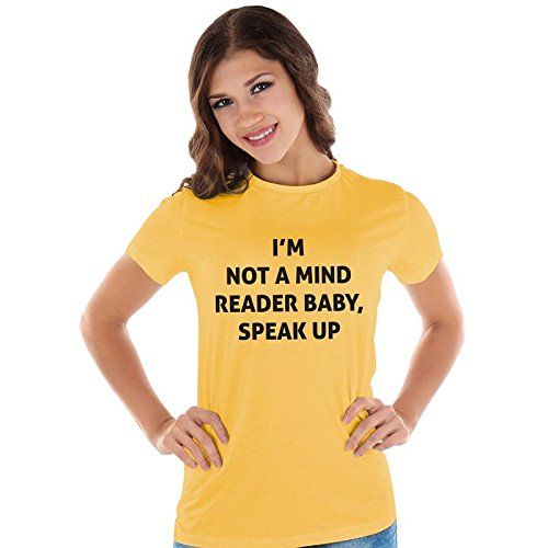60c5a9ec Notydude Women's Cotton T-Shirt/Yellow-not-a-Mind-Reader|Funny ...