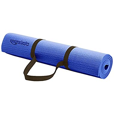 AmazonBasics 1/4-Inch Yoga and Exercise Mat with Carrying Strap, Blue