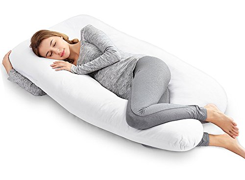Huggable Body (Ang Qi Total Body Support Pregnancy Pillow with Washable Cotton Cover, 55-inch, U Shaped, White)