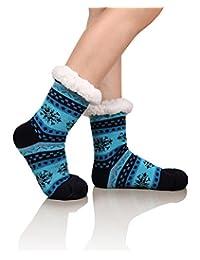 DoSmart Womens Winter Thermal Snowflake Fleece Lining Fuzzy Warm Indoor Home Socks