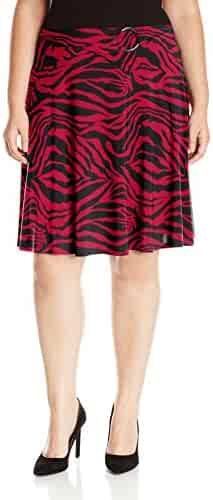 ac064ae237 Star Vixen Women's Plus Size Midi-Length Full Sweep Ity Knit Skirt with O-