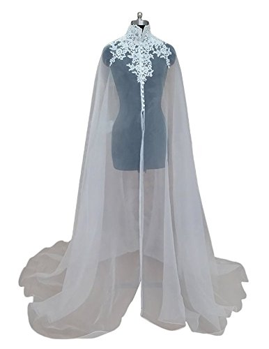 Dobelove Women's Elegant Very Long Wedding Bridal Clock Wrap Cape (OneSize, White 01)
