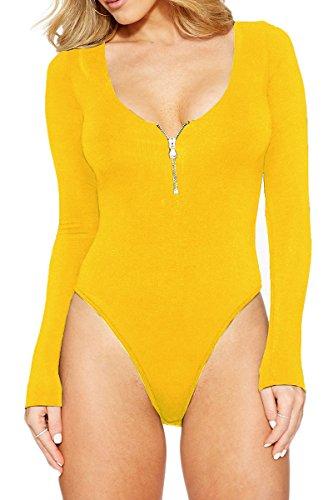 Meyeeka Stretchy Scoop Neck Long Sleeve Bodysuits Basic Bodycon Leotard for Women L -