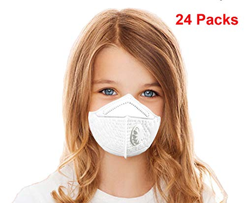 Kids Disposable Face Mask K-N95 Particulate Respirator Masks With Valve Child PM2.5 Dust Masks Anti-Pollution Dustproof Cycling for Outdoor Safety Multi-Layer Protection (24 pieces)