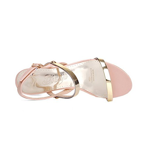 AgooLar Women's Buckle Kitten Heels Pu Solid Open Toe Sandals Pink lDQjWN