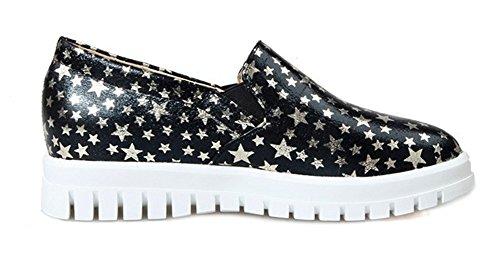 Aisun Donna Trendy Casual Star Low Cut Punta Tonda Elastica Suola Spessa Slip On Sneakers Platform In Mocassino Skate Flats Scarpe Nere