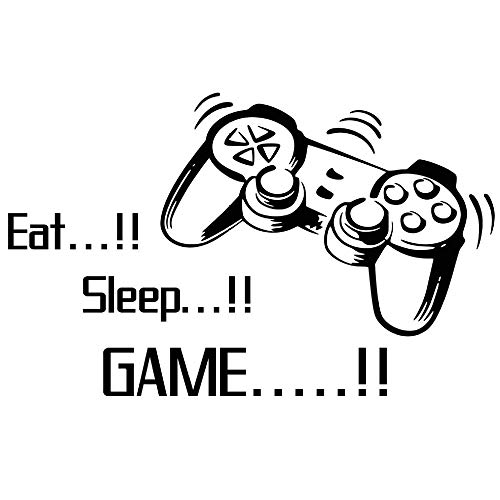 (Homefind Game Wall Decals Eat Sleep Game Quote Wall Stickers Gamers World for Net Bar Living Rooms Bedroom Removable Kids and Boys Rooms Decoration 33.7