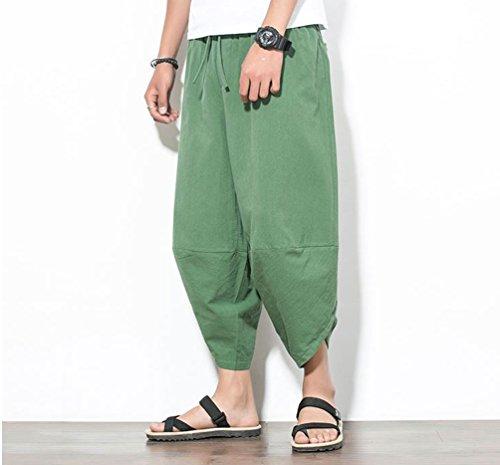 Yuandiann Large Vert Couleur Homme Jambe Baggy Capri Élastique Aladdin Cordon Harem Solide Plus Casual Pantalon Hippie Poches Taille Été Sarouel Ballon Pantacourt rrBq4