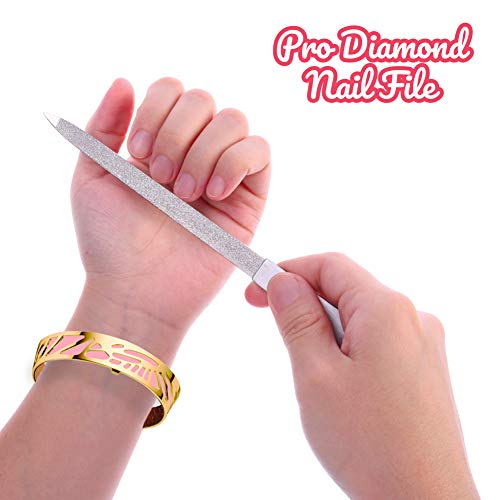Diamond Nail File 2 Pack, 7 inch Double Sided File Buffer for Gentle Precise Nail Shaping, Washable Stainless Steel Permanent Surface for Home or Travel Pedicure Manicure Kit