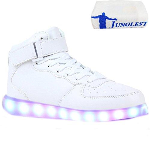 (Present:kleines Handtuch)JUNGLEST® Blinkende LED Damen Sneakers High M Weiß