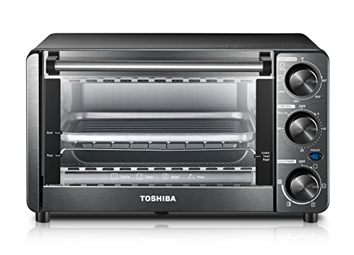 Toshiba MG12GQN-BS Mechanical oven with Toast/Bake/Broil Function, 12 L capacity/4 Slices Bread/9-inch Pizza, Black Stainless Steel