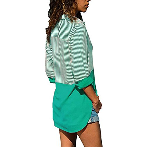 maniche casual a Joy Primavera Ode e a patchwork a a donna Camicia lunghe Verde maniche righe da lunghe autunno donna Pullover in righe colorblock lunghe maniche da EqESYxn