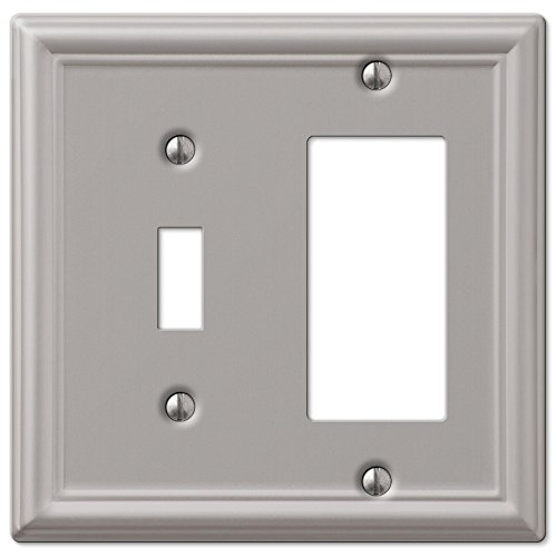 Toggle and GFCI Decora Rocker Wall Switch Plate Outlet Cover - Brushed Nickel ()