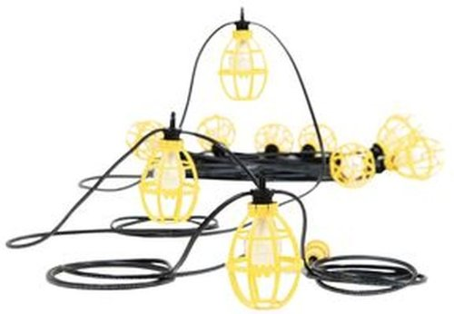 Woodhead 02SRL  Pro-Yellow Stringlight, Commercial and General Duty, Incandescent Bulb, 150W Lamp Wattage, Assembled Socket Construction, STR101 Guard, 14/2 Cord Type