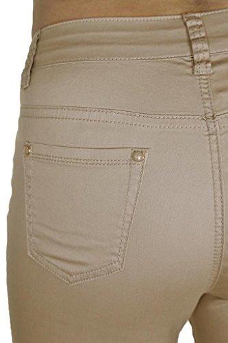 Ice 1 Femmes en Beige Brillant Chinos Pantalon Jeans Extensible 1477 pour Tailles Grandes 5rvpnq5