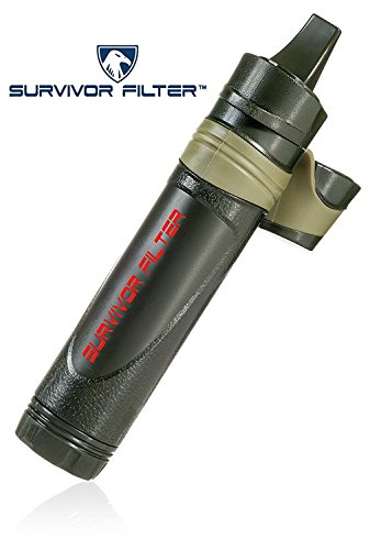 Survivor Filter - Virus Tested Cleanable Portable Water Filter for Camping and Emergency with 0.05 Micron 3 Stage Filtration – 100,000L Membrane, Replaceable Carbon and 6 Cotton Pre-Filters Included
