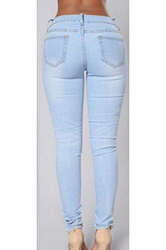 Tasche Con Vita Waist Jeans Monocromo Estivi Strappati Pantaloni Lunga Alta Moda Battercake High Trousers Donne Casuale Donna Grazioso Blu Eleganti Primaverile Outdoor Jeggings UwOPqzvF