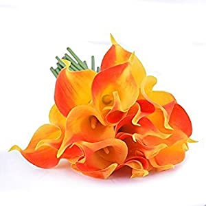 Wuudi 20pcs Calla Lily Bridal Wedding Bouquet head Latex Real Touch Flower Bouquets - Orange 27