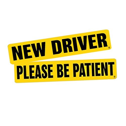 VaygWay Set of 2 '' New Driver Please Be Patient '' Bumper Magnet Safety Sign - Car Vehicle Reflective Sign Sticker Bumper for New - Beginner Driver