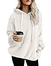 Women Loose Fit Zipper Front Long Sleeve Hoodies Fleece Pullover Outwear