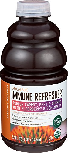 Foods Echinacea - Whole Foods Market, Organic Immune Refresher Purple Carrot, Beet & Cherry with Elderberry & Echinacea Juice Blend, 32 fl oz