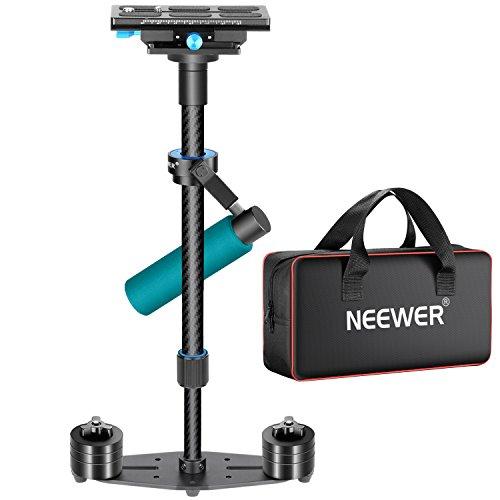 Neewer Kohlefaser 24 Zoll / 60 Zentimeter Handheld Stabilizer mit 1 / 4,3 / 8 Zoll Schnellwechselplatte für DSLR Kamera DV Video Camcorder Fotografie Film Making, laden bis zu 6,6 Pfund / 3 kg