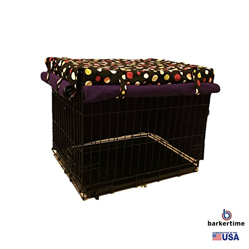 Barkertime Dog Crate Cover - Made in USA - Colorful Polka Dot on Black Pet Crate Cover, XXL (Polka Dot Crate)