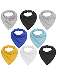 Vetoo Baby Bandana Drool Bibs for Drooling and Teething 8 Pack Cute Baby Gift for Boys & Girls, Super Soft Absorbent Organic Cotton Toddler Set