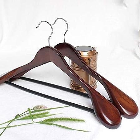 Braun Chomile 6 St/ück Breit Schulter Holz Aufh/änger mit rutschfest Hose Stange f/ür Mantel Bekleidung Anzug
