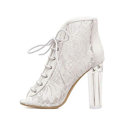 Schwarz Pumps Urtjsdg High Stiefel Bootie 5 Escarpinsnbsp;frauen Damen Heel 7 Spitze Weiß Ausgeschnitten Schnürstiefeletten Sandalen Schuhe Hohl uZOikXP