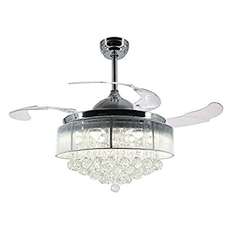 $illuminazione Fan Chandelier 42 U0026quot;Modern LED Ventilatore A Scomparsa  In Cristallo Con Ventola