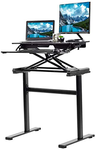 (VIVO Black Height Adjustable Compact Sit to Stand Table Workstation Desktop Converter Monitor Riser with Desk Legs Base | Standing Desk and Frame Combo Package (DESK-KIT-1KK))