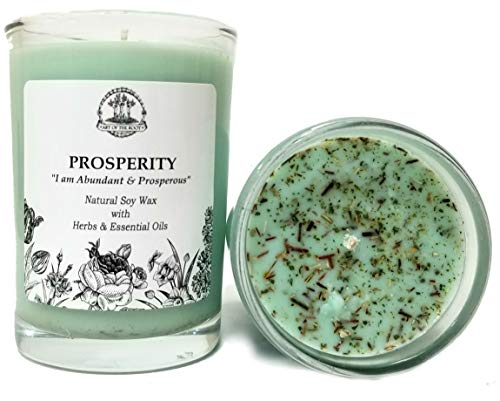 Prosperity Affirmation Candle: 8 oz Natural Soy Wax with Herbs & Essential Oils for Abundance, Good Fortune, Wealth, Money, Success, Obtaining Goals for Wiccan, Pagan & Magic Spells & Rituals