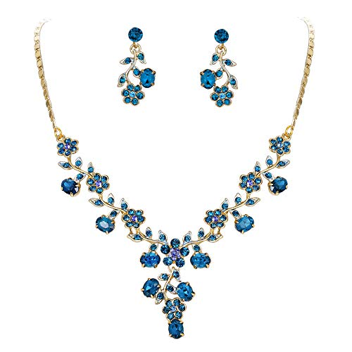 EVER FAITH Flower Leaf Necklace Earrings Set Austrian Crystal Gold-Tone - Blue