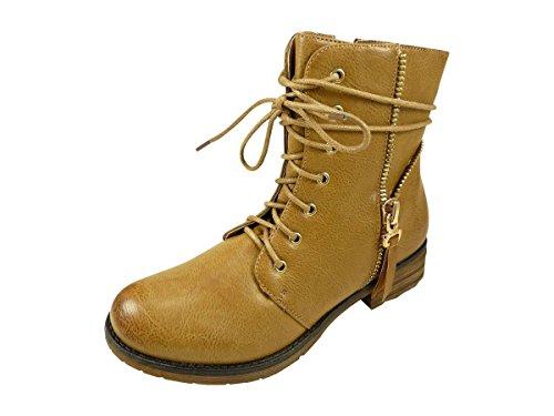 Botines con cordones ante y cremallera en lateral, tamaño grande, diseño de zapato de tacón Marrón - marrón (camel)