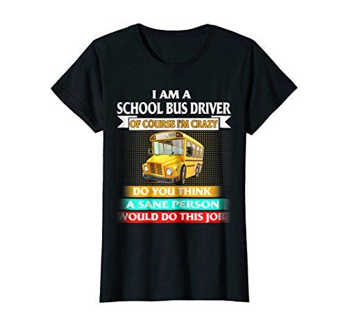 Womens School Bus Driver T shirts Medium Black