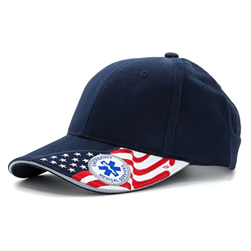 EMS Embroidered Basball hat with USA Flag Emergency Medical Services Adjustable Cap Navy Blue