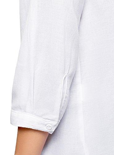 Coreana Collection oodji Bianco Camicia 1000n alla Cotone Donna con Collo in qaaw8d