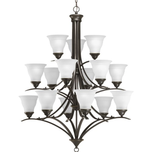 Progress Lighting P4365-20 15-Light Three-Tier Trinity Chandelier, Antique (Trinity Antique Bronze Three Light)